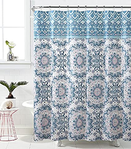 Royal Bath Blue Pink Mandala Burst PEVA Non Toxic Fabric Shower Curtain