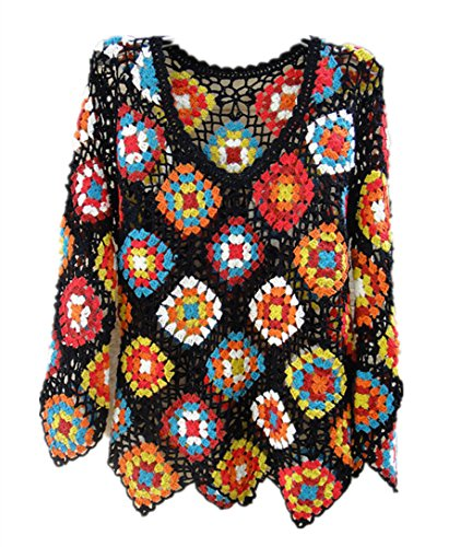 White Crochet Top Women Long Sleeve Blouse V Neck Granny Square (M, Black)