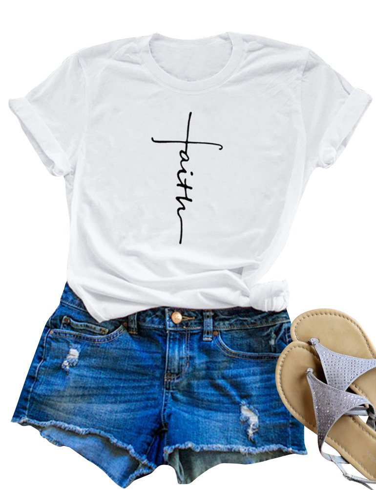 SCX Women Cross Faith Printed Tees Letter Print T-Shirt Summer Grey Tees (M, White)