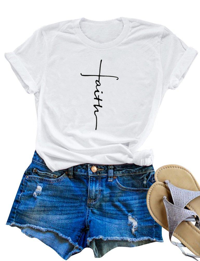 SCX Women Cross Faith Printed Tees Letter Print T-Shirt Summer Grey Tees (XL, White)