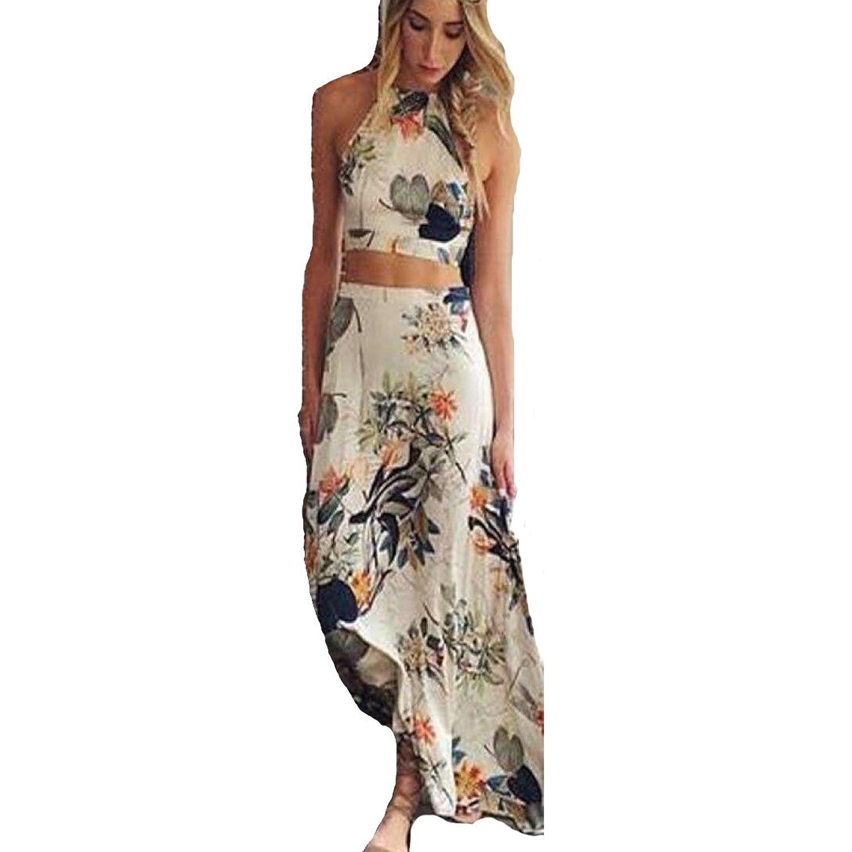 Sannysis Damen-Sommer Boho lang Maxi Abend-Partei-Kleid-Strand-Kleid ...