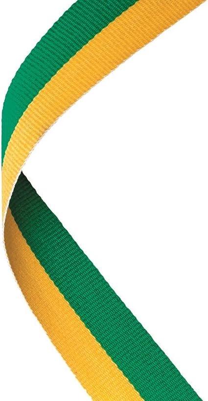 MEDAL RIBBON GREEN//WHITE//ORANGE 30 X 0.875in PACK OF TEN