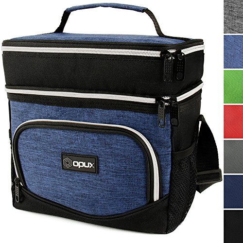 OPUX Premium Thermal Insulated Dual Compartment Lunch Bag for Men | Double Deck Reusable Lunch Tote with Shoulder Strap, Soft Leakproof Liner | Medium Lunch Box for Work, Office (Heather Navy)