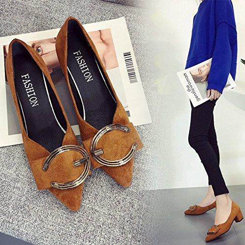 Negro Mejorar Zapatos Mujer Zapatos Tacón luz Zapatos de Zapatos de claro Marrón Naturaleza la Zapato la Alto Boda Sugerencia de de Zapatos Irregular Qiqi en Trabajo de con un Xue con YgBaqa