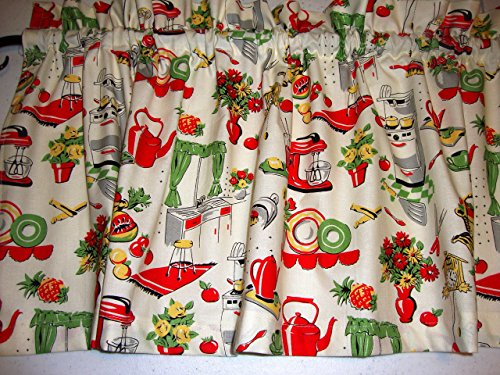 Retro 1950's Kitchen Valance Curtain Window Treatment Red Green Yellow on Cream Mid Century