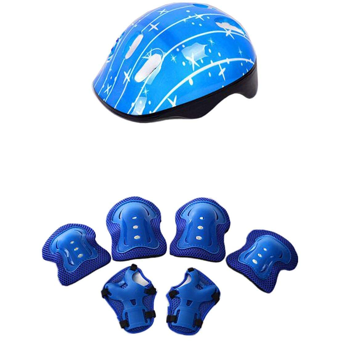 1Set(7Pcs) Adjustable Sports Protective Gear Set Include Helmet Knee Pad/Elbow Pad/Wrist Pad for Cycling Skateboarding Skating Rollerblading Etc - Suitable for 3-12 Years Old Kids Youth(Blue)