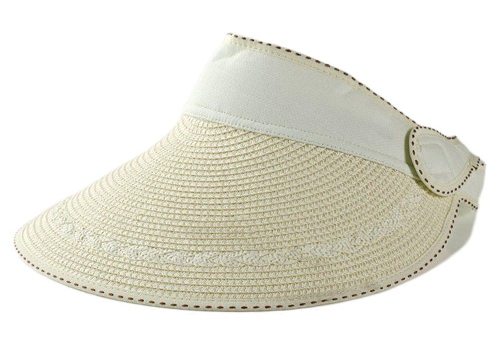 weimay Hut Sommer-Der Damen der Frauen Anti-UV-Hut Strand Hut der Strand der Stroh des Visier Rand des Rand (beige)