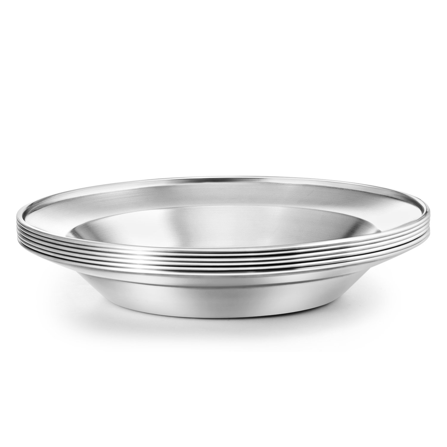 Beach Hiking Stainless Steel Plate Set Picnic 8.5 inch Ultra-Portable Dinnerware Set BPA Free Plates for Outdoor Camping BBQ