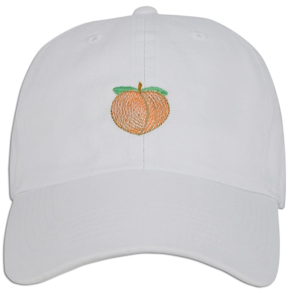 1242cb39741c6 Peach Emoji Embroidered Dad Cap Hat Adjustable Polo Style Unconstructed  (Lt. Blue Denim) at Amazon Men s Clothing store