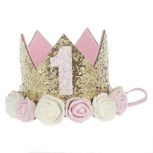 Shuxinmd Princesa Corona Cumpleaños para Bebé de Flor Uno ...