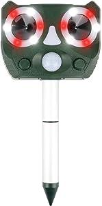 Ultrasonic Animal Repellent,Solar Powered Waterproof Animal Repeller with Motion Sensor, Scares Repels Deer Raccoon Cat Dog Rabbit Squirrel Bird