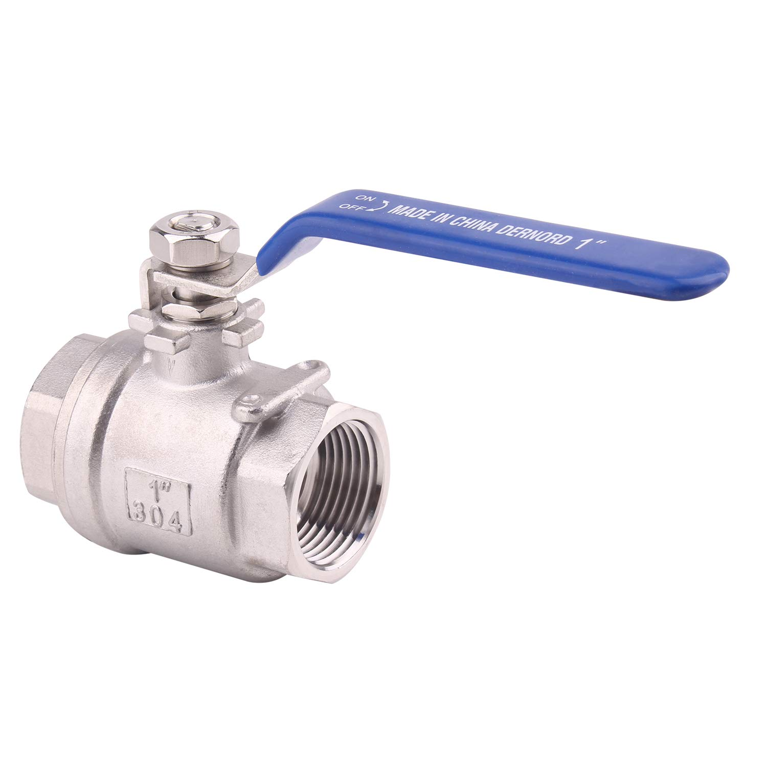 DERNORD Full Port Ball Valve Stainless Steel 304 Heavy Duty for Water, Oil, and Gas with Blue Locking Handles (1