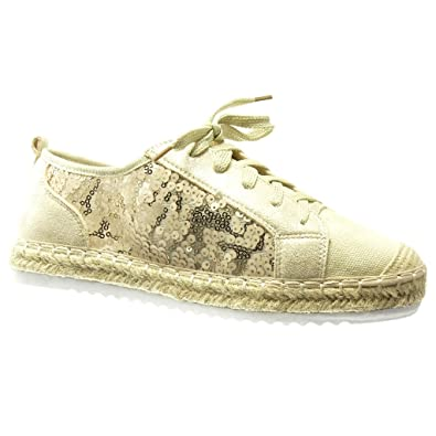 7f5b9c5420bd47 Angkorly - Chaussure Mode Espadrille Baskets bi-matière Semelle Basket Femme  résille Pailettes Corde Talon