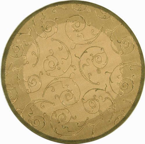 Safavieh Courtyard Collection CY2665-1E01 Natural and Olive Indoor/ Outdoor Round Area Rug (7'10