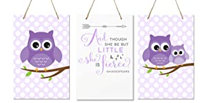 "LifeSong Milestones and Though She May Be Little She is Fierce 3 Piece Owl Childrens Wall Decor Signs for Kids, Bedroom, Nursery, Baby's Boys, Girls Room, Size 8"" x 12"" Made in USA (Purple)"