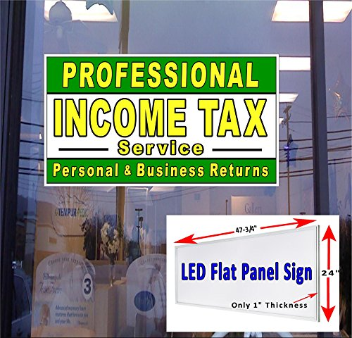 24'' x 48'' LED Light box Sign - Professional Income Tax Service - Window Sign by Custom Creation Sign Company