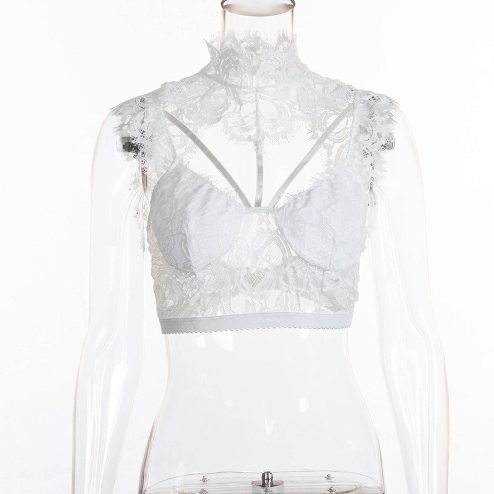 Women Tank Tops Sleeveless Lace Splice V-Neck Bra Vest T-Shirt Crop Blouse (L, White) by Yihaojia Women Blouse (Image #4)