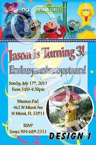 Sesame Street Personalized Birthday Invitations More Designs (Personalized Elmo Birthday Invitations)