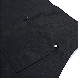Split-Leg Waxed Canvas Apron, Clya Home Work Apron Utility Apron with Pockets, Adjustable to XXL Size, Heavy Duty Shop Apron Fits Men and Women (Black)