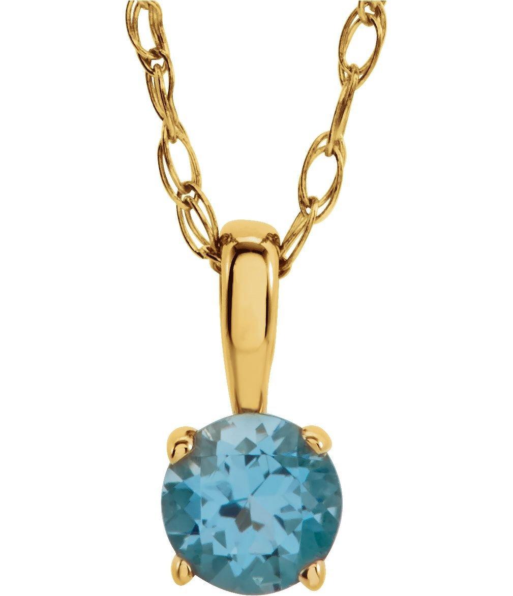 Children's Imitation Blue Zircon 'December' Birthstone 14k Yellow Gold Pendant Necklace, 14''