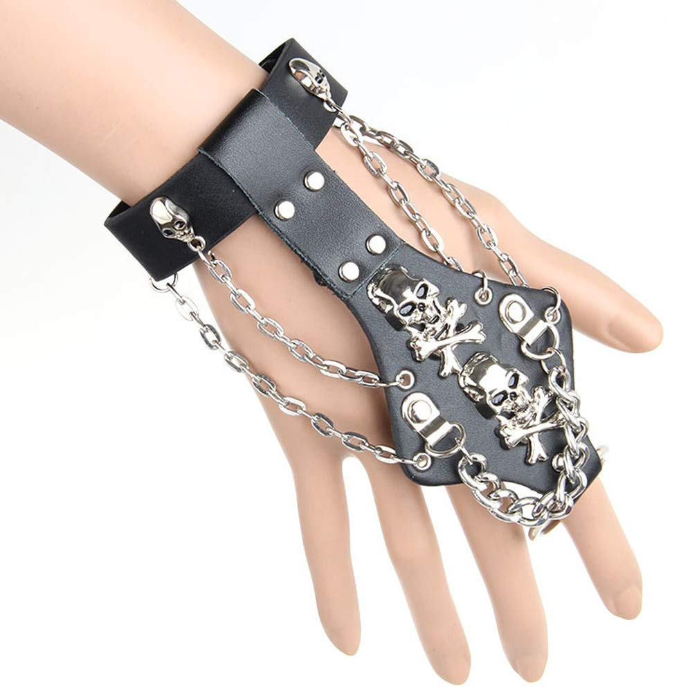 Xusamss Hip Hop Alloy Skull Chain Leather Bracelet Glove,7.5inches