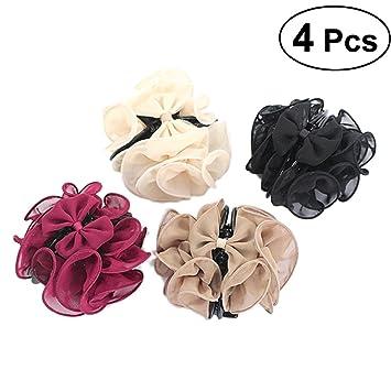 floral chiffon ruffle hair barrette woman hair accessory