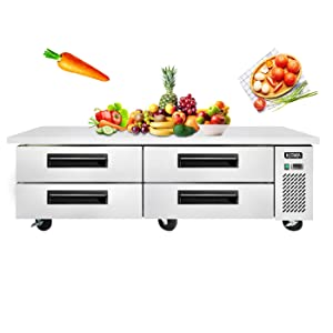 KITMA 4 Drawers Chef Base - 12.1 Cu.Ft. Stainless Steel Commercial Refrigerator - 72 Inches Kitchen Refrigeration Equipment, Restaurant Equipment Stand, 33℉-38℉