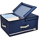 iwill createpro Clothes Storage Box with Over-sized Space, High Quality Polyster Fabric Clothing storage for Heavy-duty Organisation, with Folding Lid and Removable dividers, Blue Dot