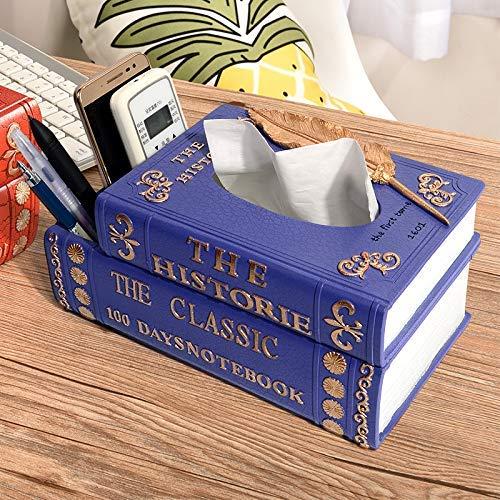 ティッシュボックスホルダーKleenex Napkin Case クリエイティブヨーロッパのファッショントレイシンプルなリビングルームの本の紙の本の本レトロティッシュボックス(カラー:ブルー) ティッシュディスペンサー収納オーガナイザースタンドティッシュカバー (色 : 青)  青 B07RW71HZM