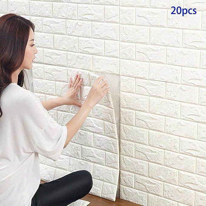 20 Piezas Papel de pared estilo ladrillos 3D, YTAT IED Pegatina de Pared DIY 3D Ladrillo Papel Pintado Sticker Autoadhesivo Wall Paneles, Ideal para dormitorios y salones 60 x60 cm(Blanco): Amazon.es: Bricolaje