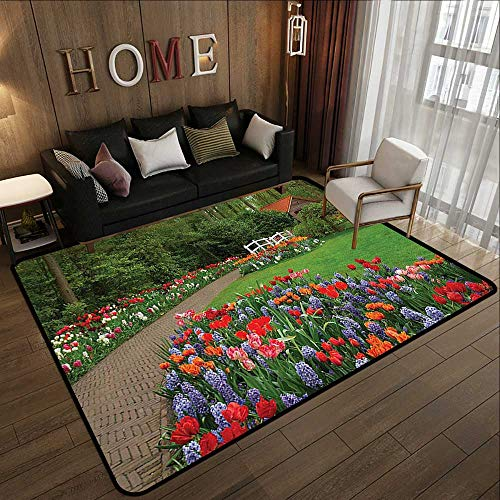 Outdoor Camping Rugs,Country Home Decor,A Spring Garden with Forest,Hut,Small Bridge,Plants,Flowerbeds and Walkway,Green Purple 47
