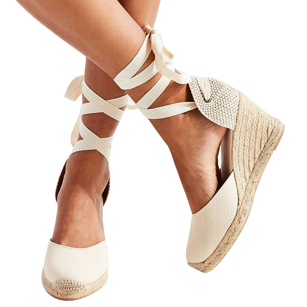 Seaintheson Sandals for Women, Spring Casual Wedge Cross Strap High Heel Platform Pump Shoes Party Dress Closed Toe Sandals