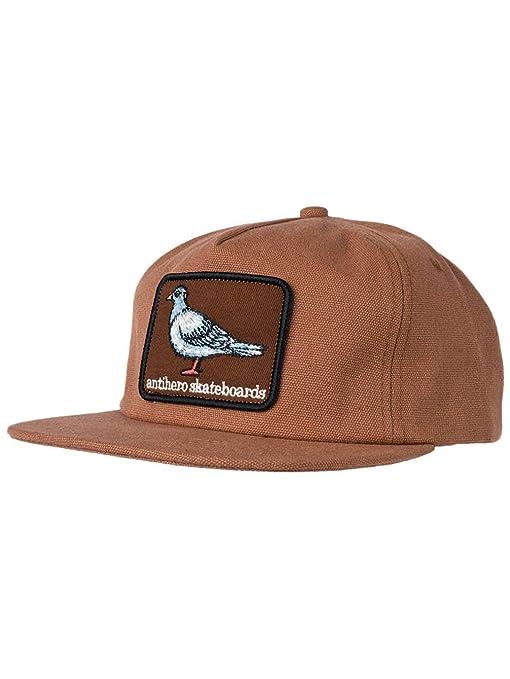 Antihero Skateboards Pigeon Patch - Gorra de Snapback no estructurada, Color marrón