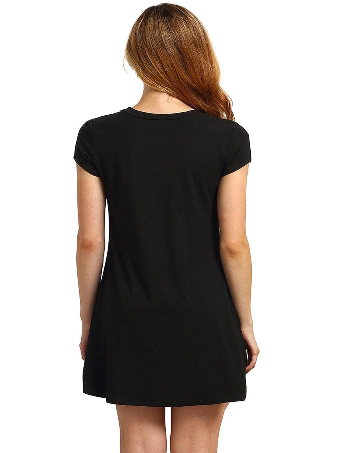 6b5ba899858 Romwe Women's Short Sleeve Shirt Casual Swing Dress at Amazon Women's  Clothing store: