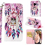 for Samsung Galaxy S9 Wallet Case with Card Holder and Screen Protector,QFFUN Elegant Design [Dreamcatcher Owl] Magnetic Stand Leather Phone Cases Drop Protection Etui Bumper Flip Cover with Lanyard