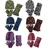 Women 6 Pack Fleece Animal Print Scarf, Gloves & Beanie Winter Set, assorted, one size