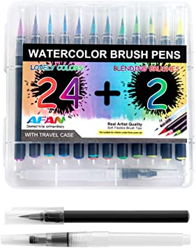 AFAN Coloring Markers Pens Brush Pens Art Markers -24 Colors Artist Watercolor Brush Pens Set For Professional Art painters Painting Beginners And Students To Practice Painting And Coloring