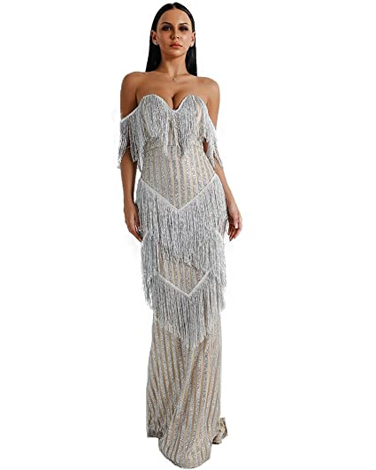 010c3be535 Miss ord Sexy Bra Off Shoulder Backless Dresses Female Tassel Glitter Maxi  Elegant Party Dress
