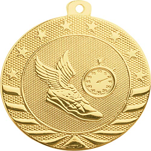 Express Medals 10-Pack of Track 2 inch Gold Color 1st Place Medal Trophy with Neck Ribbons Metal Awards