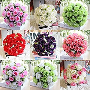 AMOFINY Home Decor 18Head Artificial Silk Roses Flowers Bridal Bouquet Rose Home Wedding Decoration 87