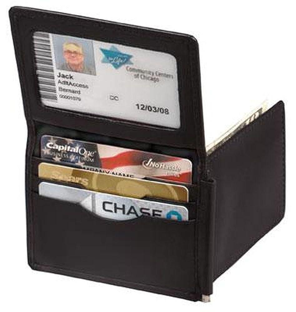 Window flap Black /& Brown Winn Napa Leather Money Clip Wallet with I.D