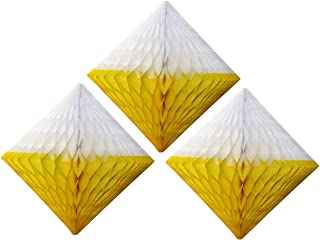 product image for Large 12 Inch Hanging Honeycomb Diamond Decoration, Set of 3 (Yellow/White)