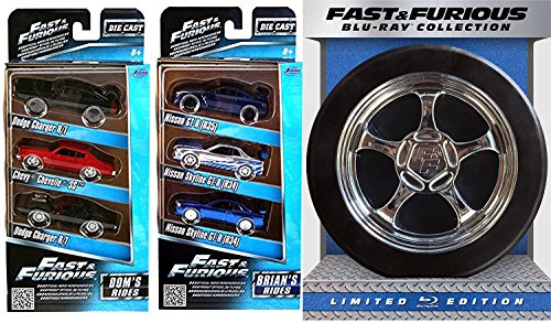 Fast & Furious 1-6 Collection Special Limited Edition + Car Set (Blu-ray + DIGITAL HD with UltraViolet) Brian's Rides & Dom's Movie Replica Car Chase Tire Package Bundle