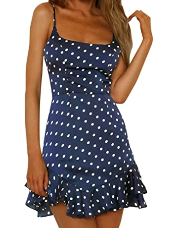 c3d37353ed1 LIMITA Womens Summer Dresses Back Bow Sleeveless Mini Beach Dress