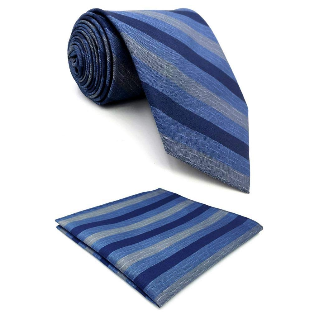 Shlax&Wing Rayas Azul Corbatas Para Hombre Seda Set Traje de ...