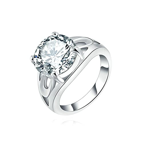 Amazon Com Aokarry Wedding Ring Silver Plated Classic Style Round