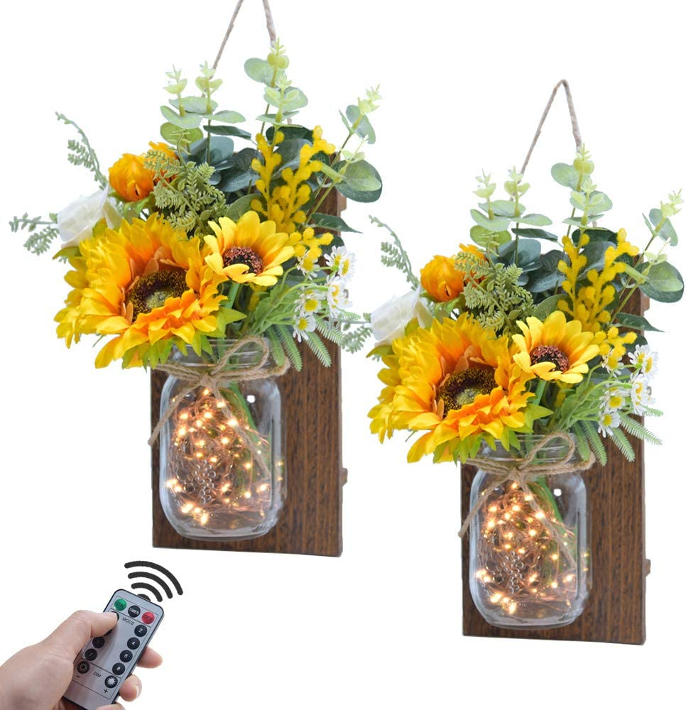 ETERNAL ANGEL Mason Jar Sconces Decorative Rustic Sunflower Wall Decor with LED Fairy Lights Remote Control Home Decoration for Farmhouse Living Room Bathroom Kitchen, Set of 2