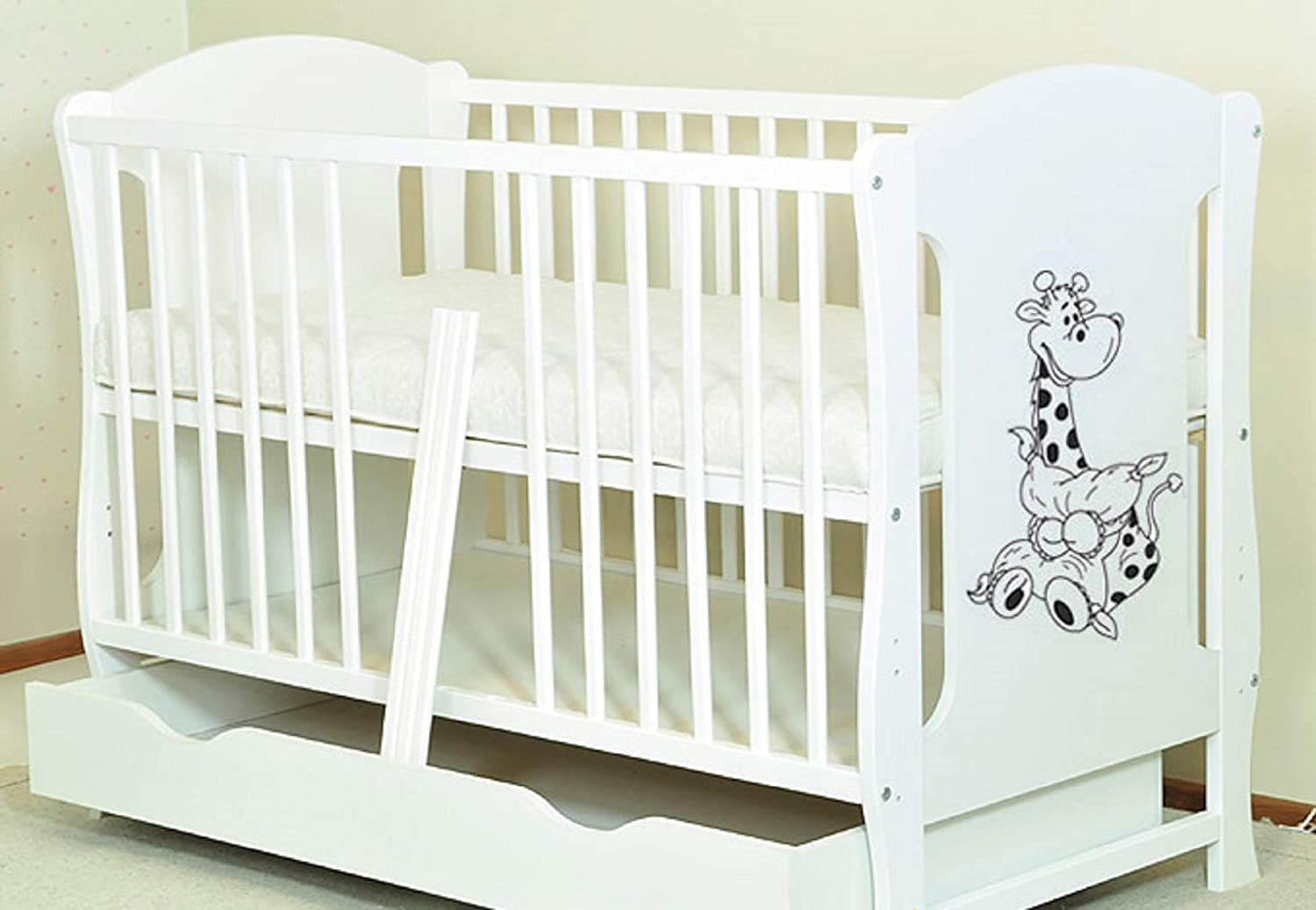 Baby COT Bed`ZUZIA`White Baby COT with Drawer//Junior Bed//Foam Free Matress /…