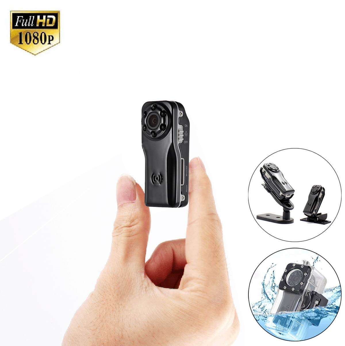 Mini Hidden Spy Nanny Camera SANPROV HD 1080P Security Surveillance Cam Small Portable Video Recorder with Motion Detection Night Vision Waterproof Case for Home Office Indoor Outdoor