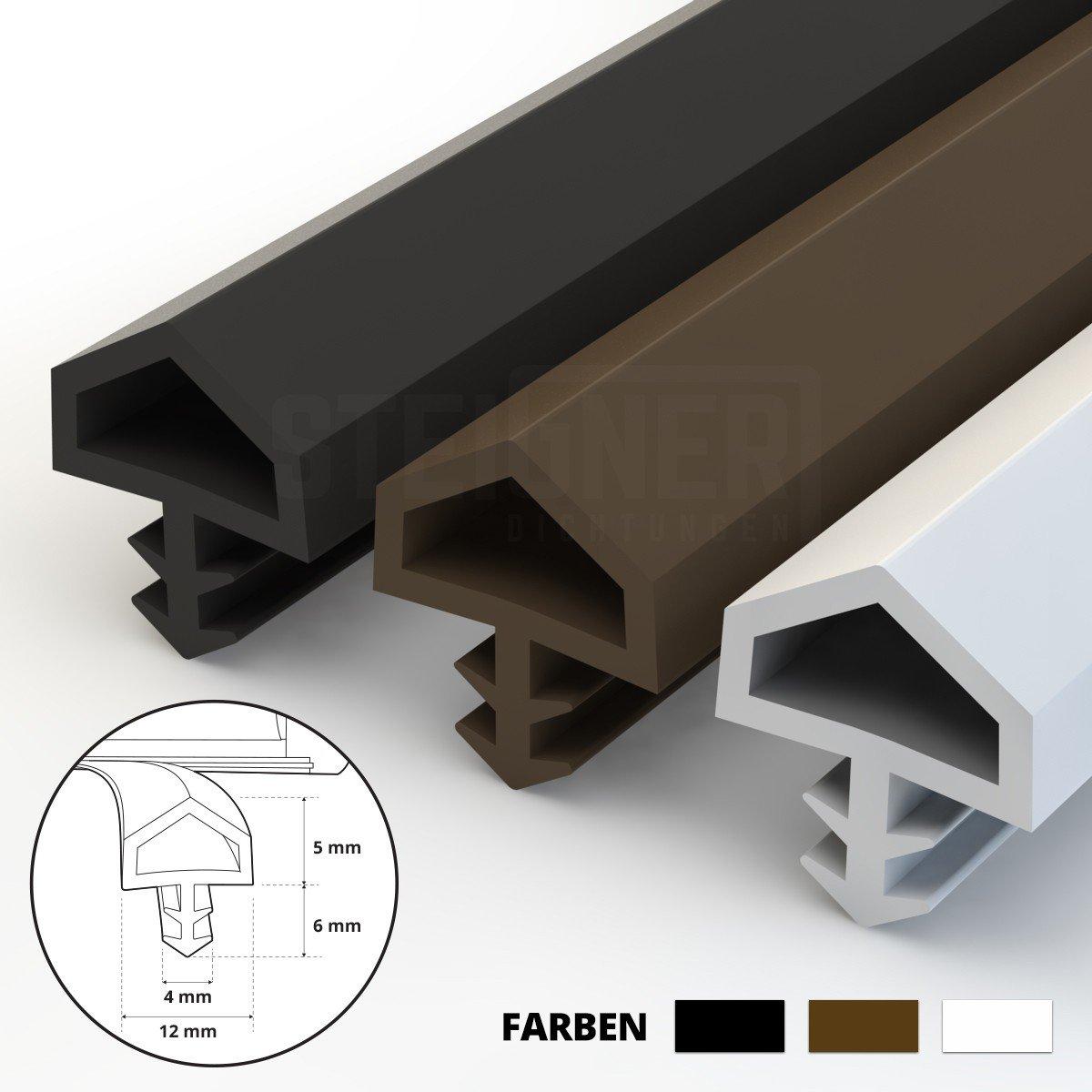 STEIGNER Guarnizione per Porta Finestra STD05 10 m 12 mm Bianco Guarnizione in Gomma Profilo per porte e finestre in Legno PVC Alluminio